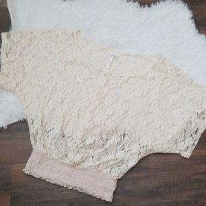 Kirra Lace Crop Top Medium Cream
